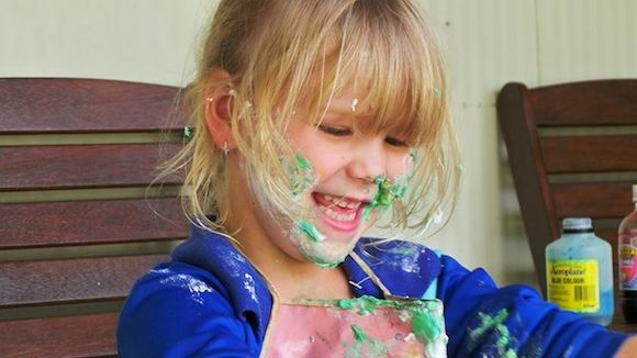 4;3Georgia playing with shaving cream during her activity time copy