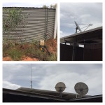 2.2 Water pump & Tank, School of the Air satellite dish, UHF Aerial Satellite Internet & Television Dishes