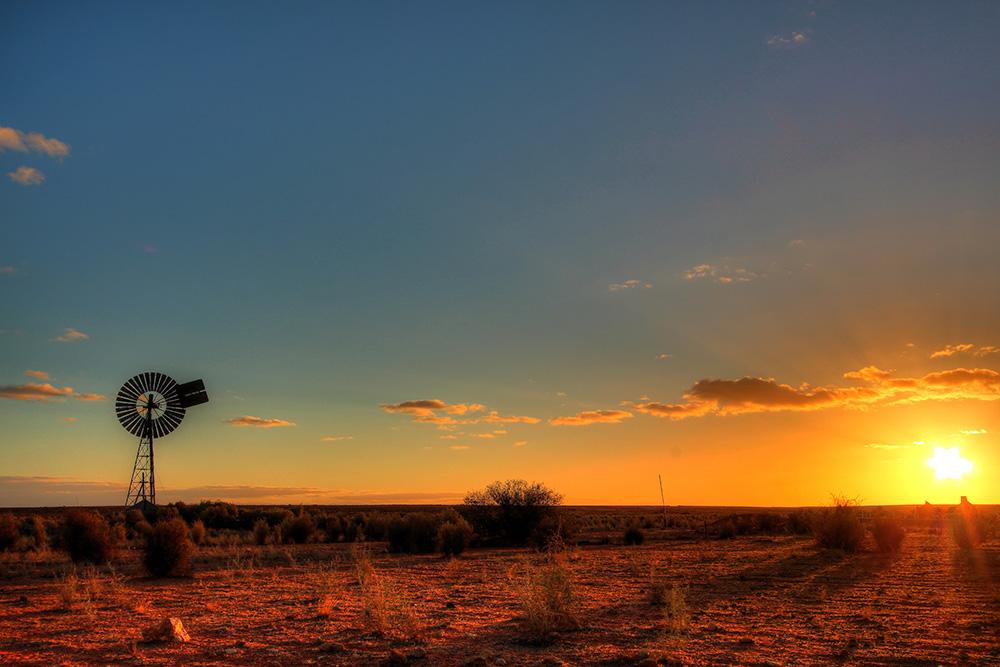 Windmill in remote Australian outback